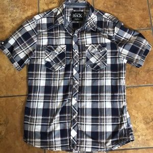 Buckle snap button up plaid shirt (Athletic Fit)